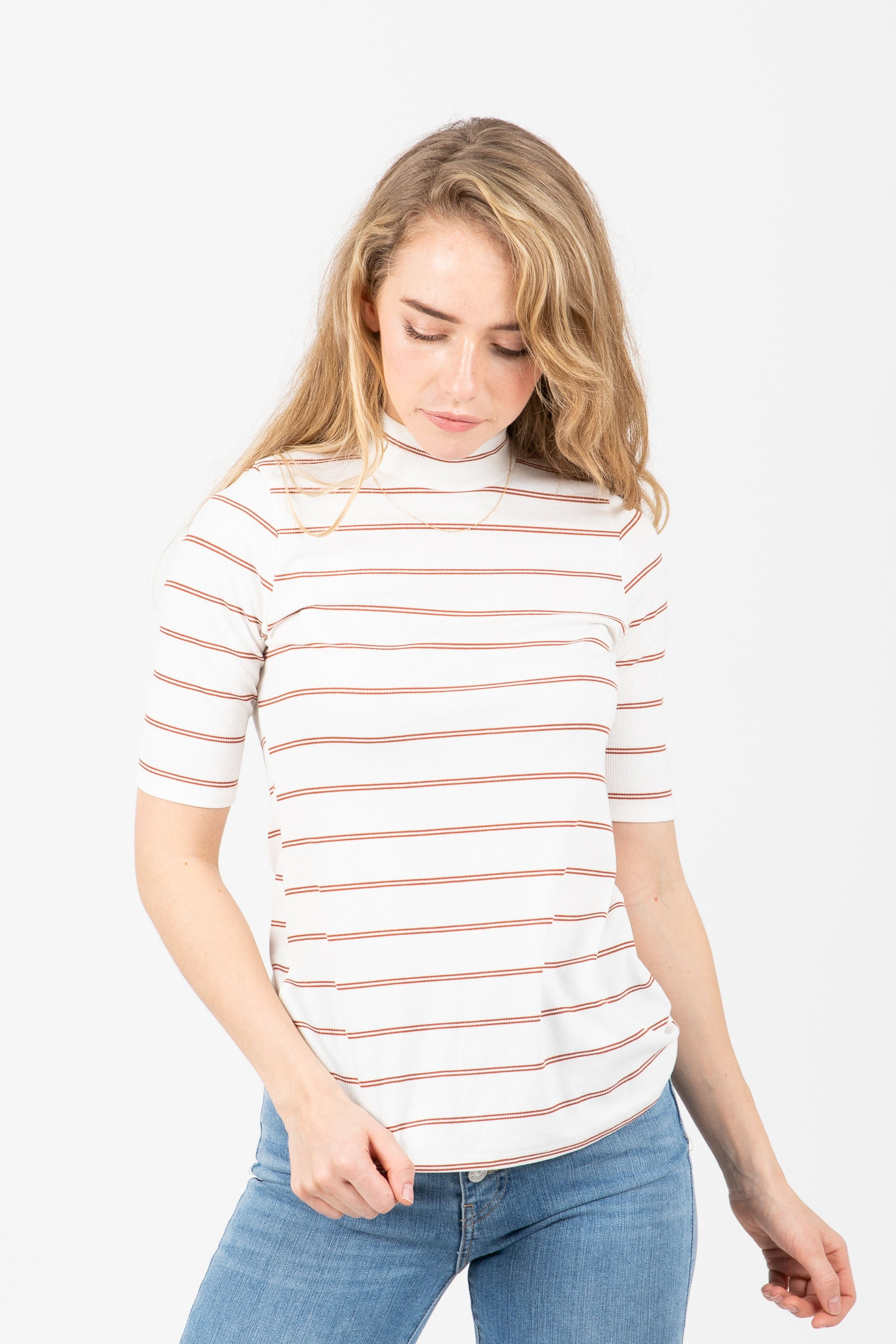 The Devoted Striped Mockneck in Chili