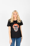 The Lippie Graphic Band Tee in Black, studio shoot; front view