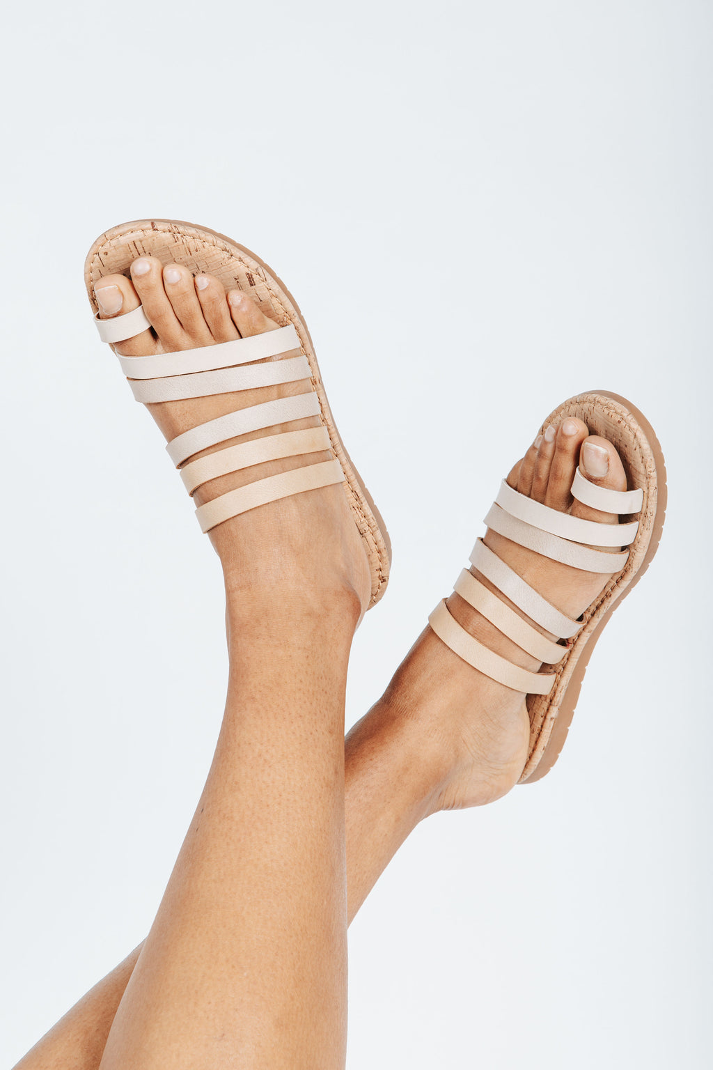 Korks by Korkease: Shay Sandal in Natural, studio shoot; front view