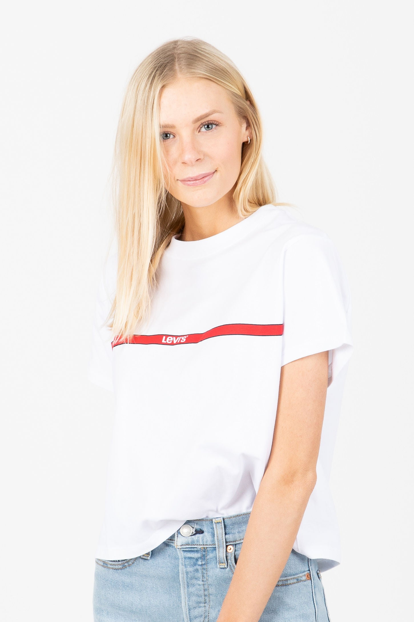 Levi's: Graphic Varsity Tee in Printed Tape White