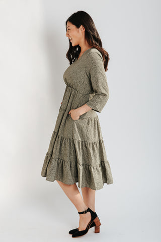 The Alamo Striped Belted Dress in Light Grey
