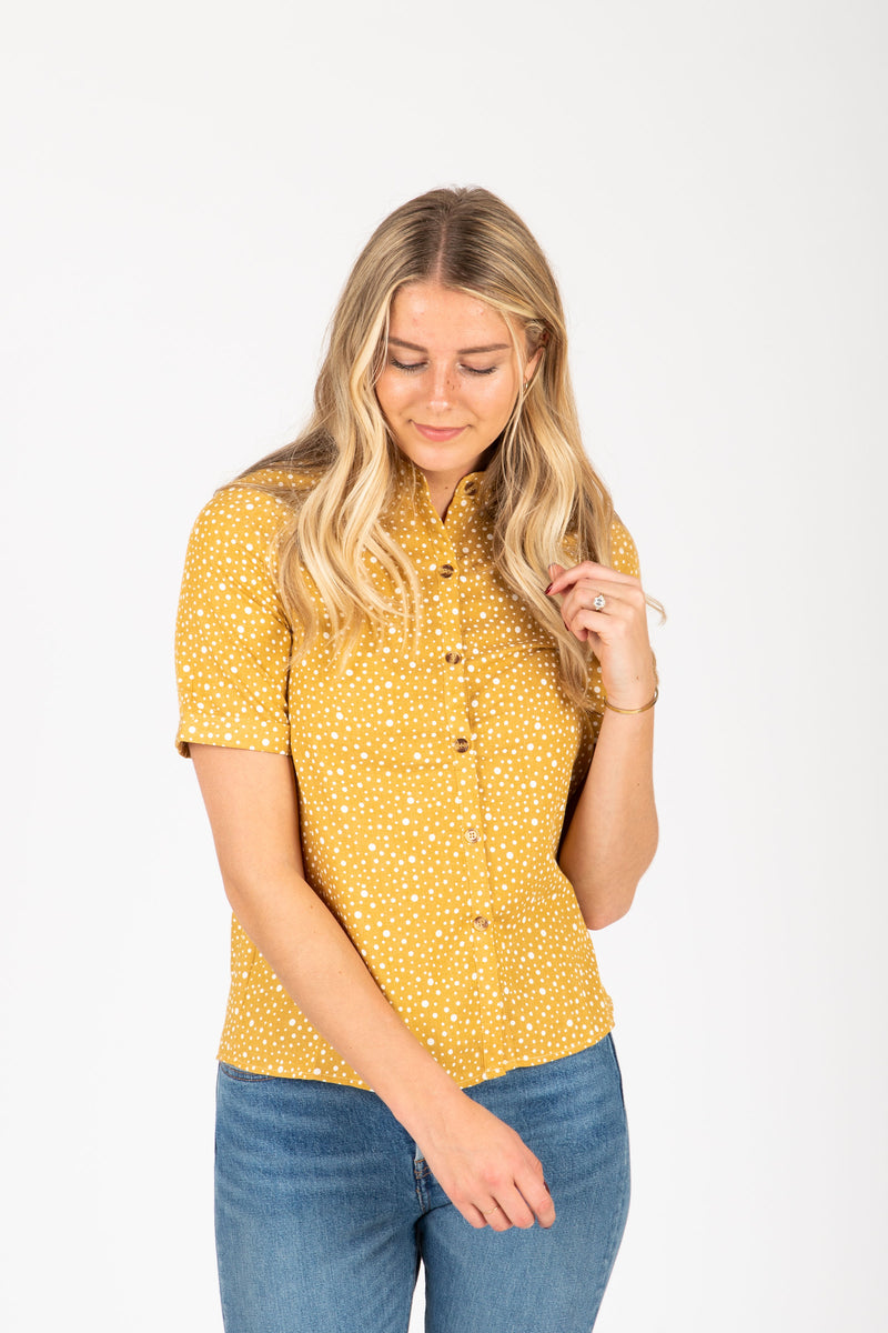 The Hunte Patterned Button Blouse in Mustard, studio shoot; front view