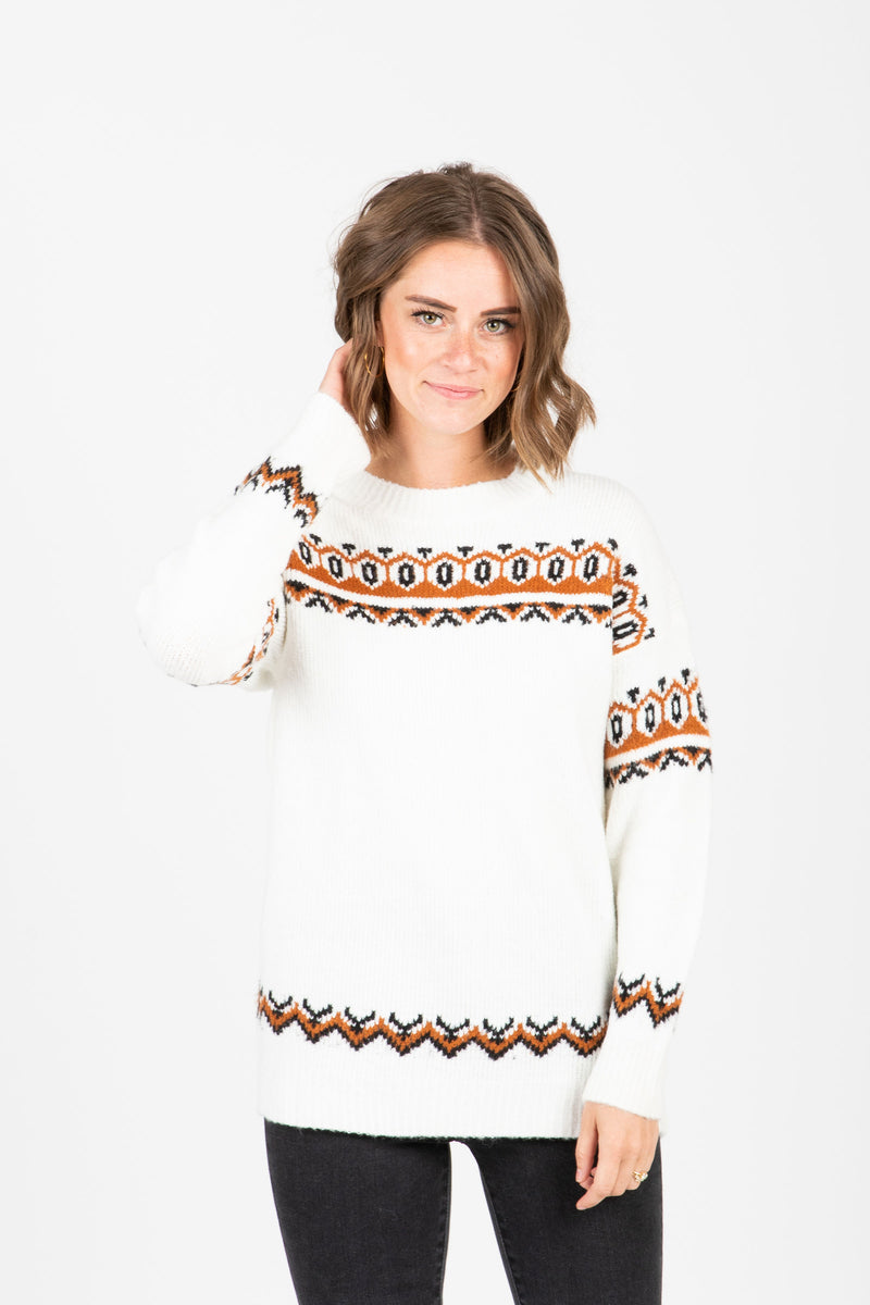 The Finch Patterned Sweater in Cream, studio shoot; front view