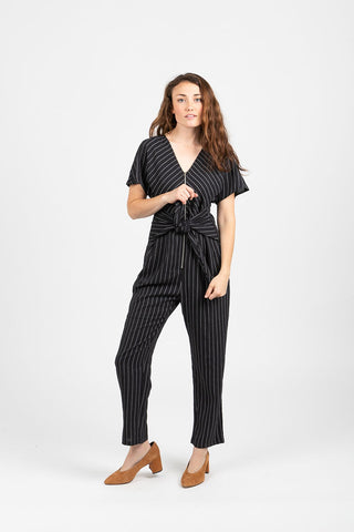 The Catherine Striped Wrap Jumpsuit in Navy