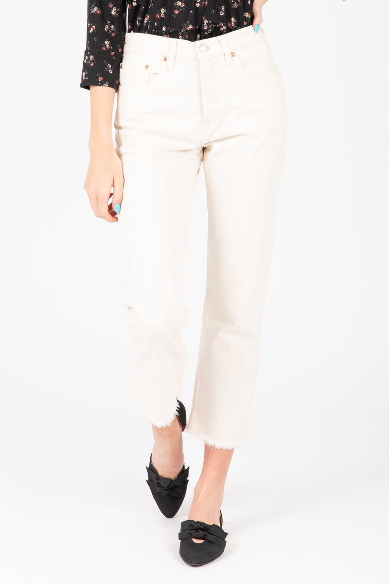 Levi's: 501 Original Cropped Jeans in Neutral Ground White, studio shoot; front view