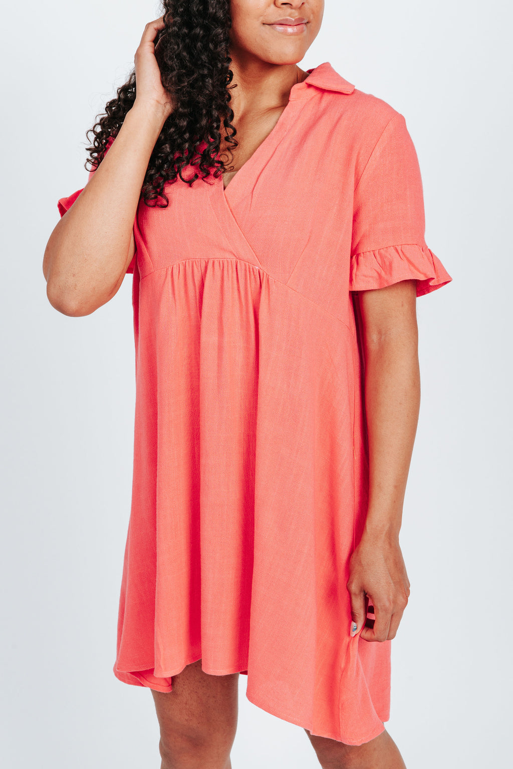 The Cassidy Linen Dress in Coral