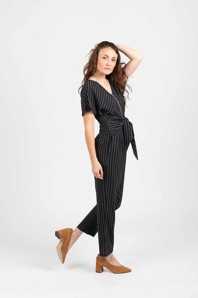 The Ruthton Striped Tie Front Jumpsuit in Black