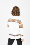 The Finch Patterned Sweater in Cream, studio shoot; back view