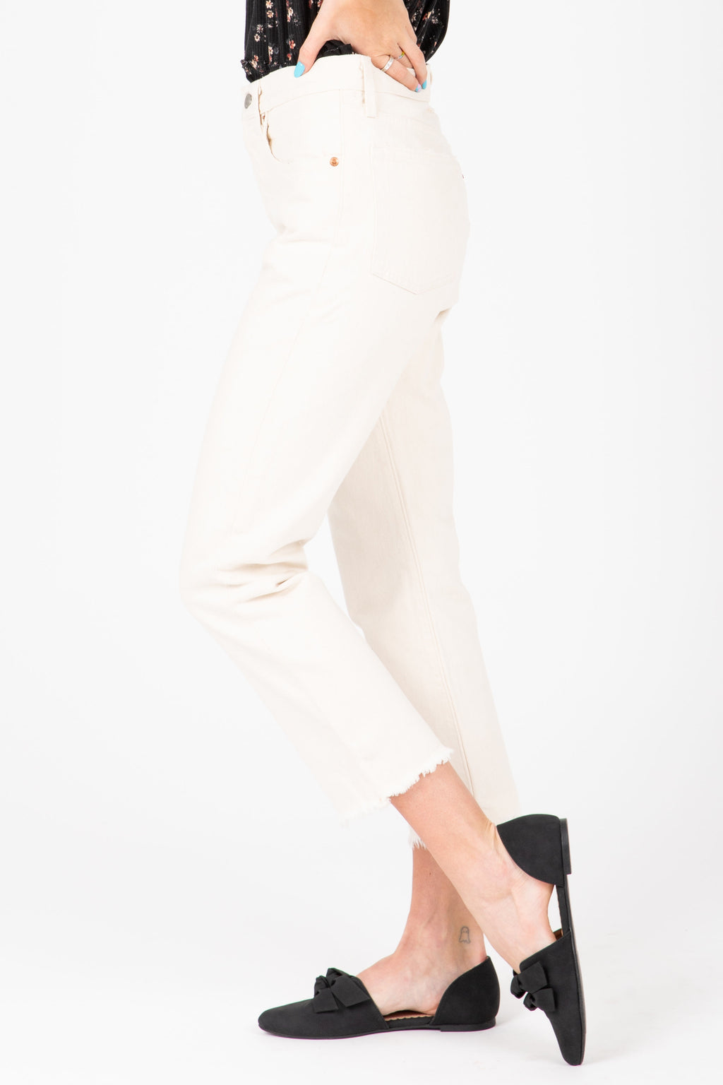 Levi's: 501 Original Cropped Jeans in Neutral Ground White, studio shoot; side view
