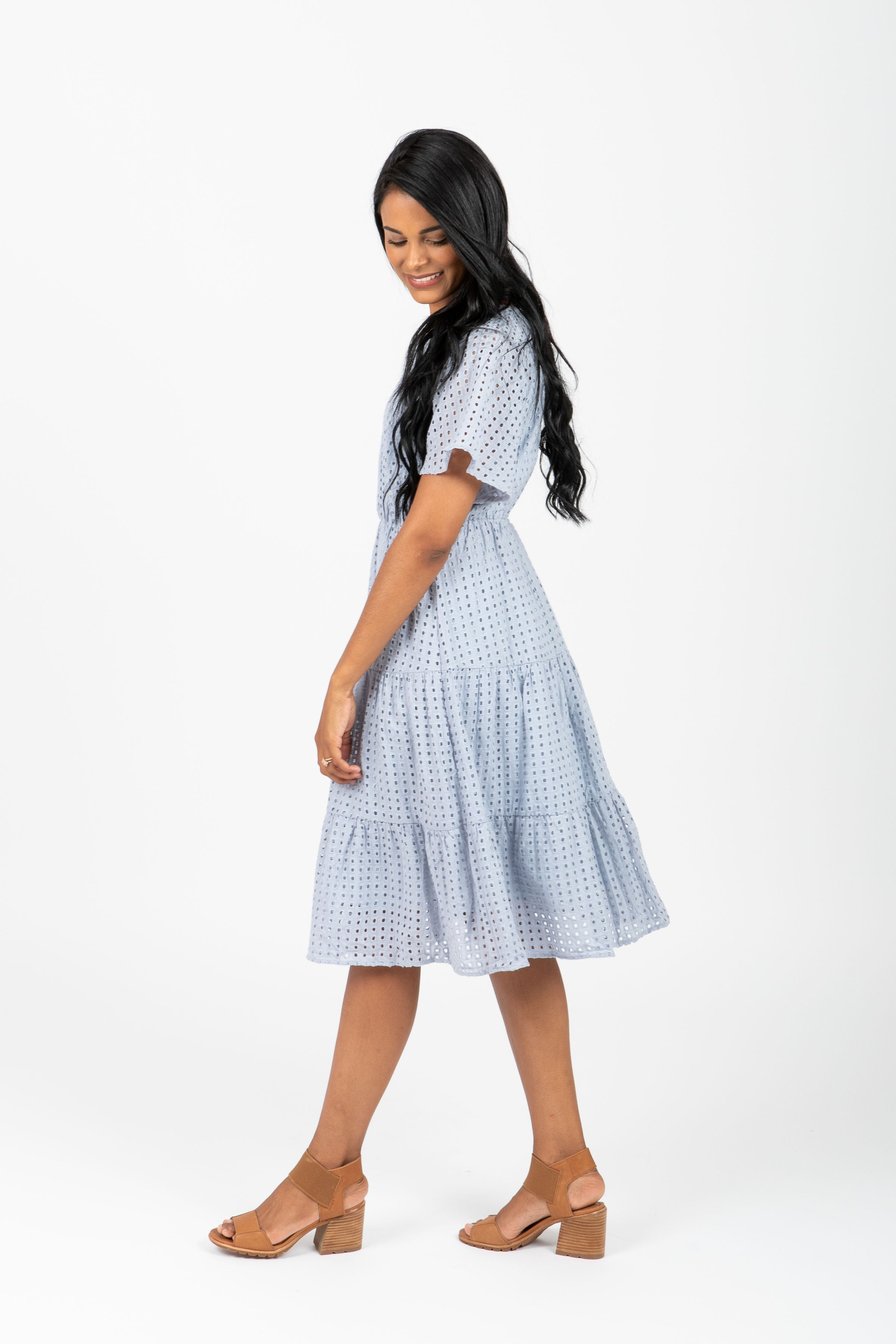 The Exposed Perforated Tiered Detail Dress in Light Blue