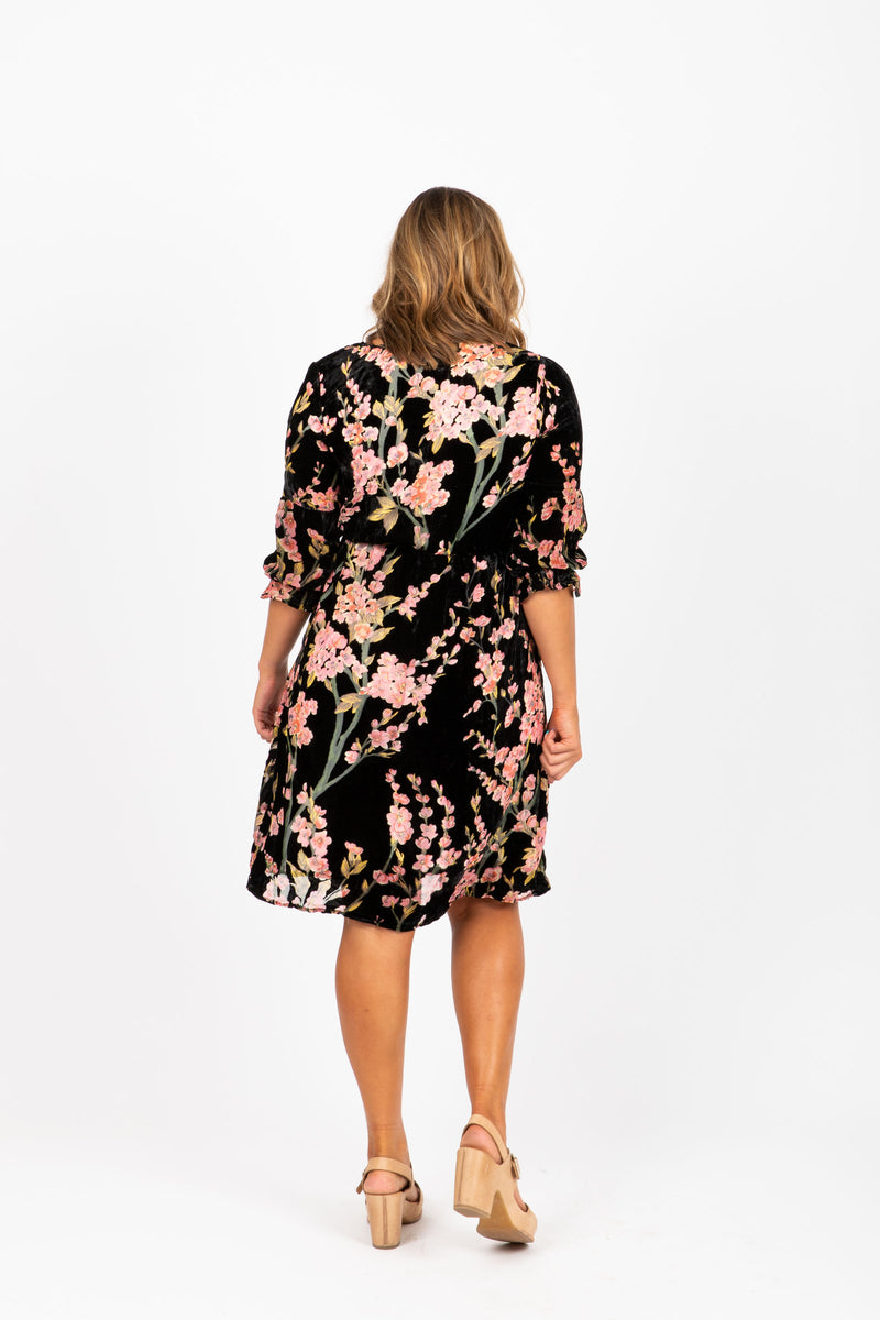 Piper & Scoot: The Violetta Velvet Floral Dress in Blush