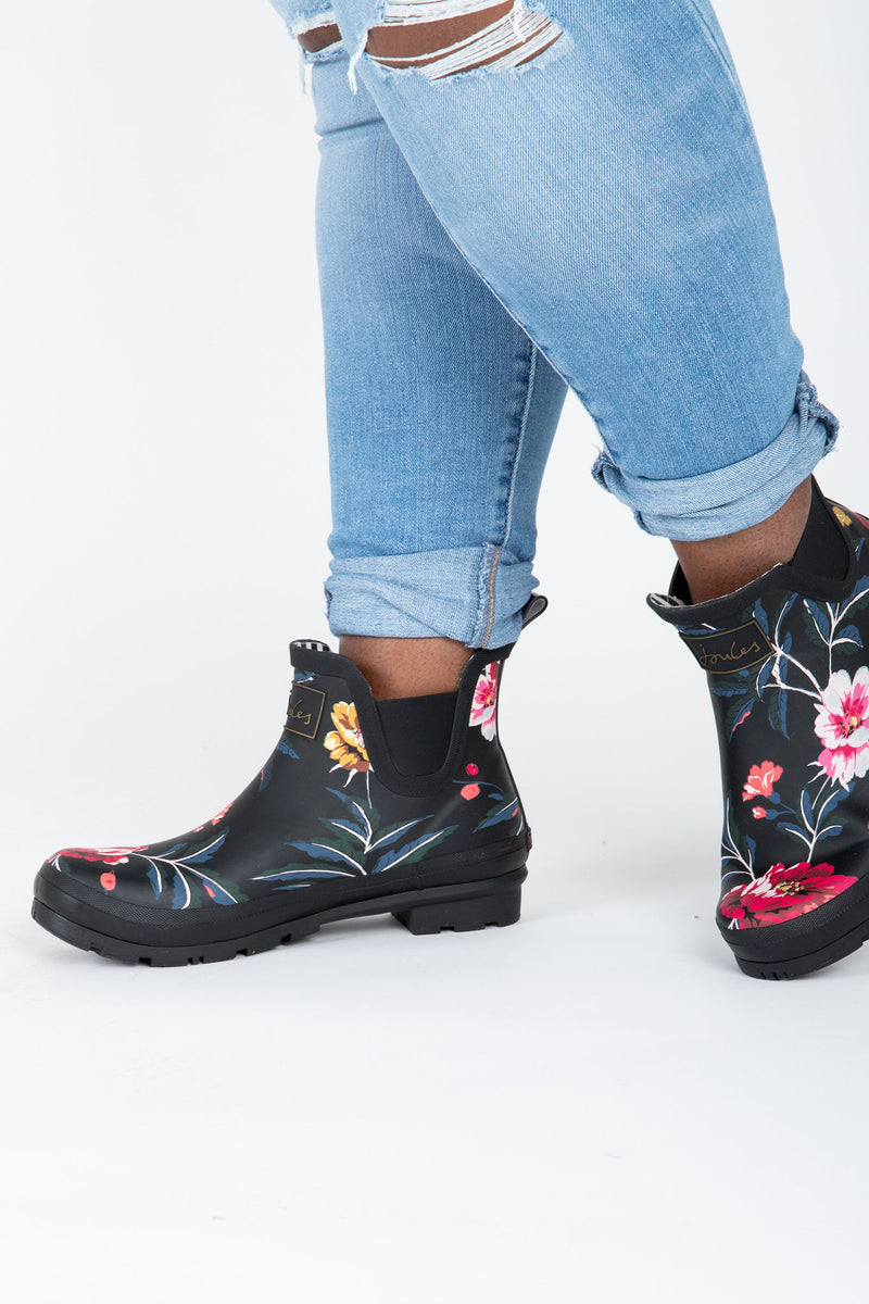 Joules: Wellibob Short Height Rainboots in Black Floral