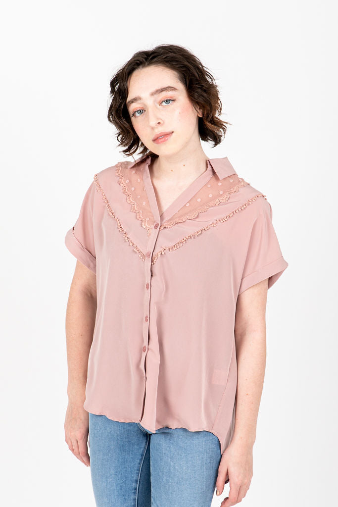The Polly Lace Detail Blouse in Dusty Rose, studio shoot; front view