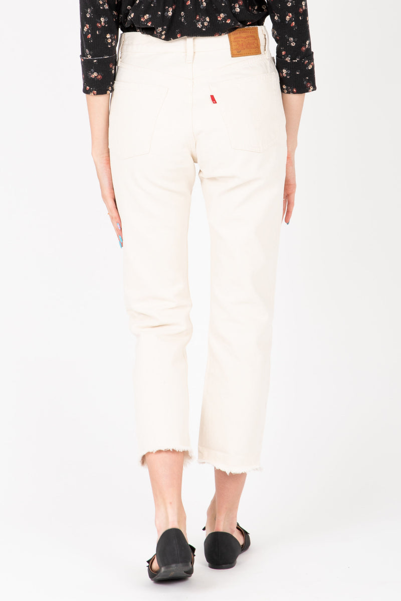 Levi's: 501 Original Cropped Jeans in Neutral Ground White, studio shoot; back view