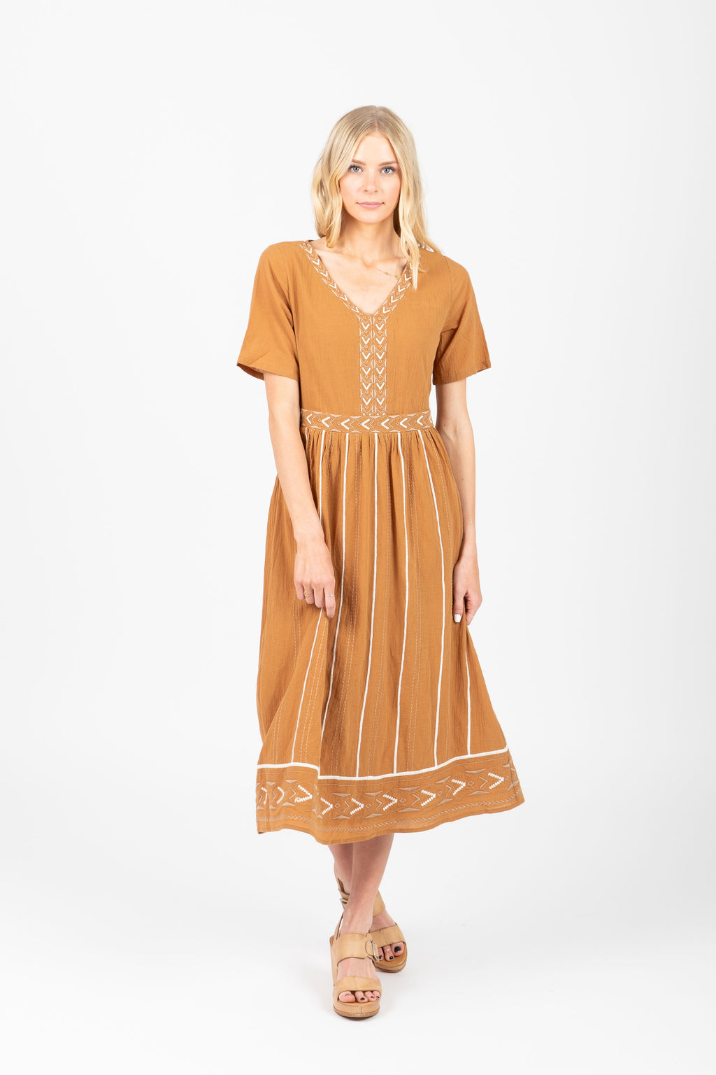 The Fawn Patterned Midi Dress in Coco