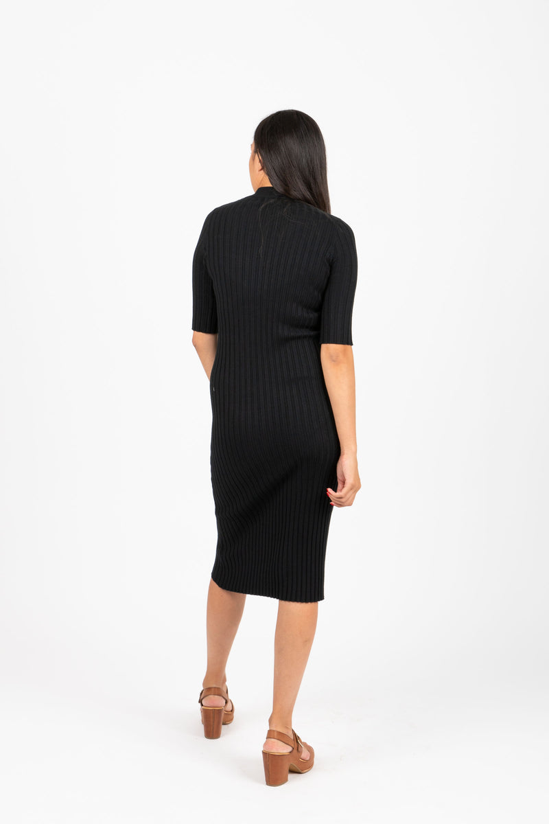 The Eugene Ribbed Sweater Dress in Black, studio shoot; back view