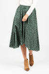 The Hallie Swiss Dot Ruffle Dress in Moss