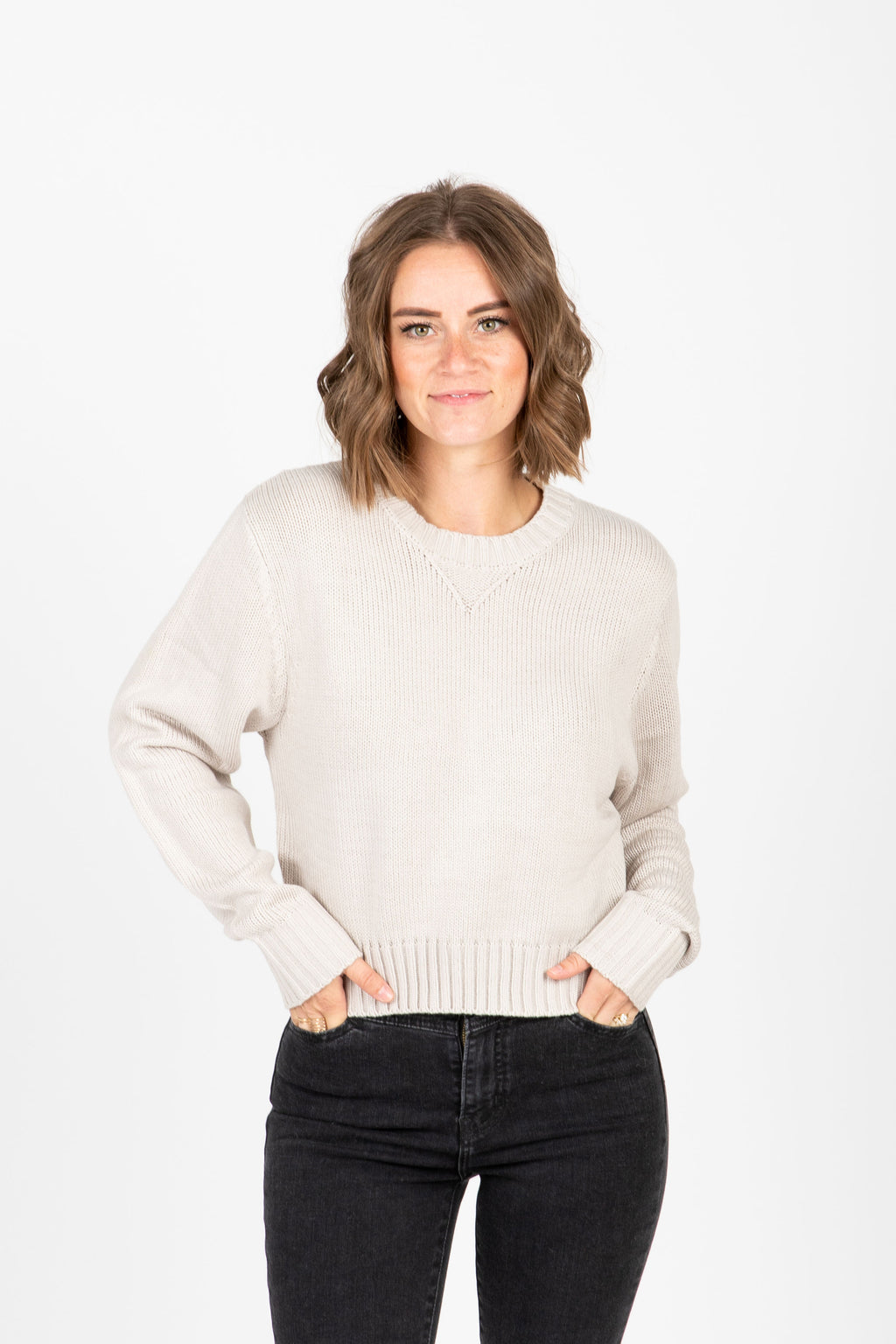 The Barnett Ribbed Trim Sweater in Taupe, studio shoot; front view