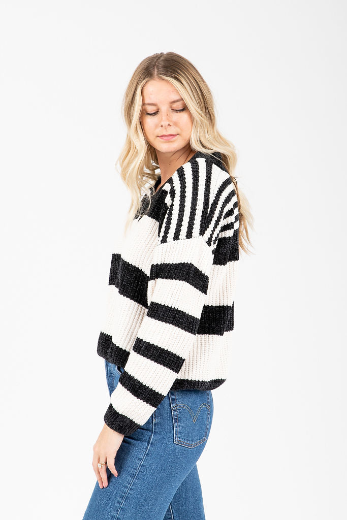 The Osmond Striped Sweater in Black