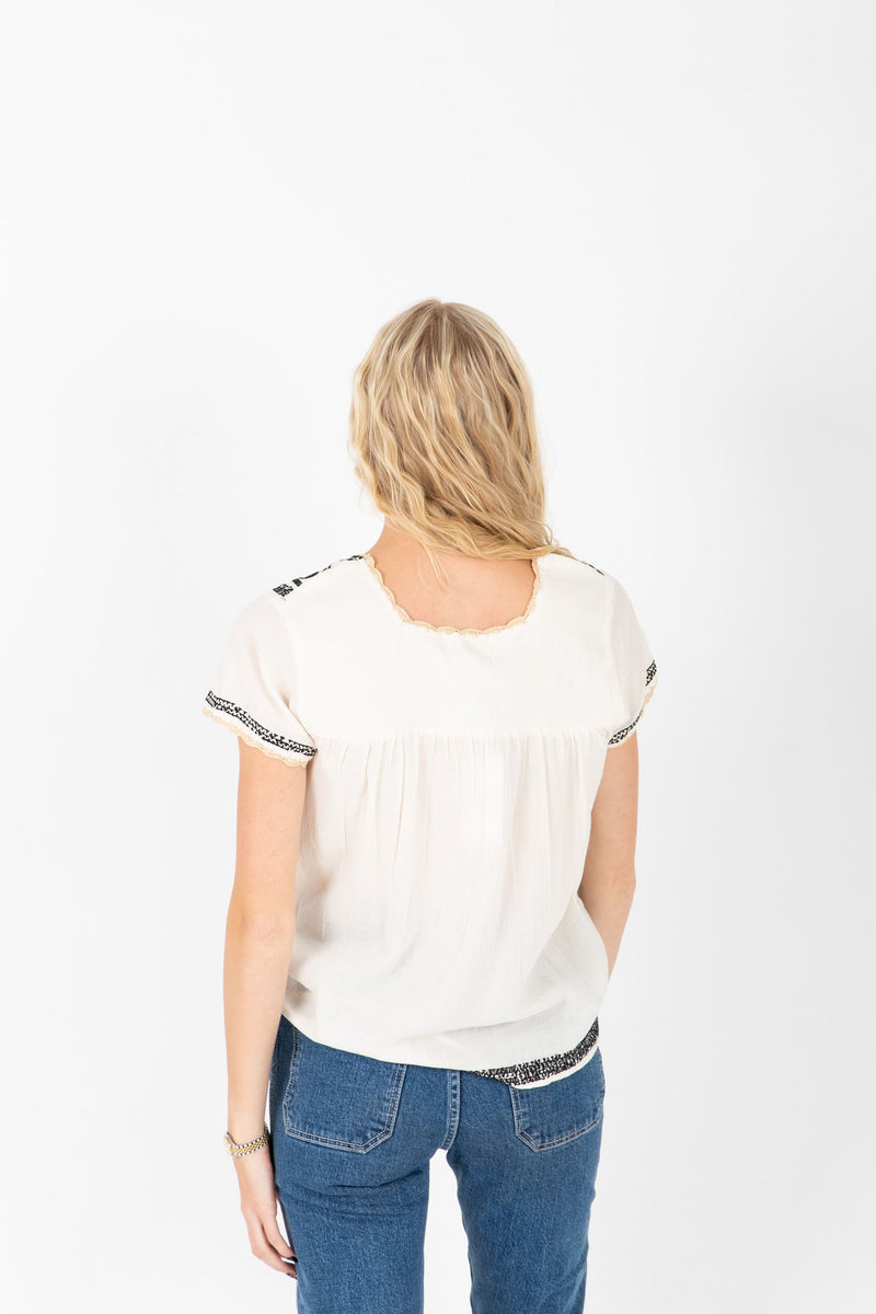 The Nyle Embroidered Detail Blouse in Cream, studio shoot; back view