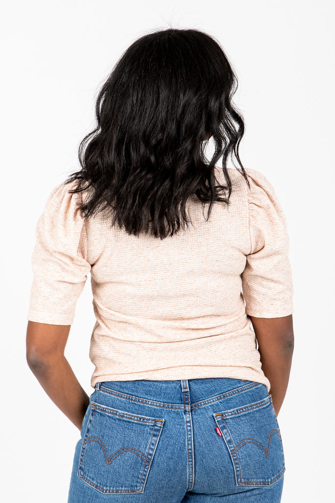 The Mary Kate Textured Knit Blouse in Oatmeal, studio shoot; back view