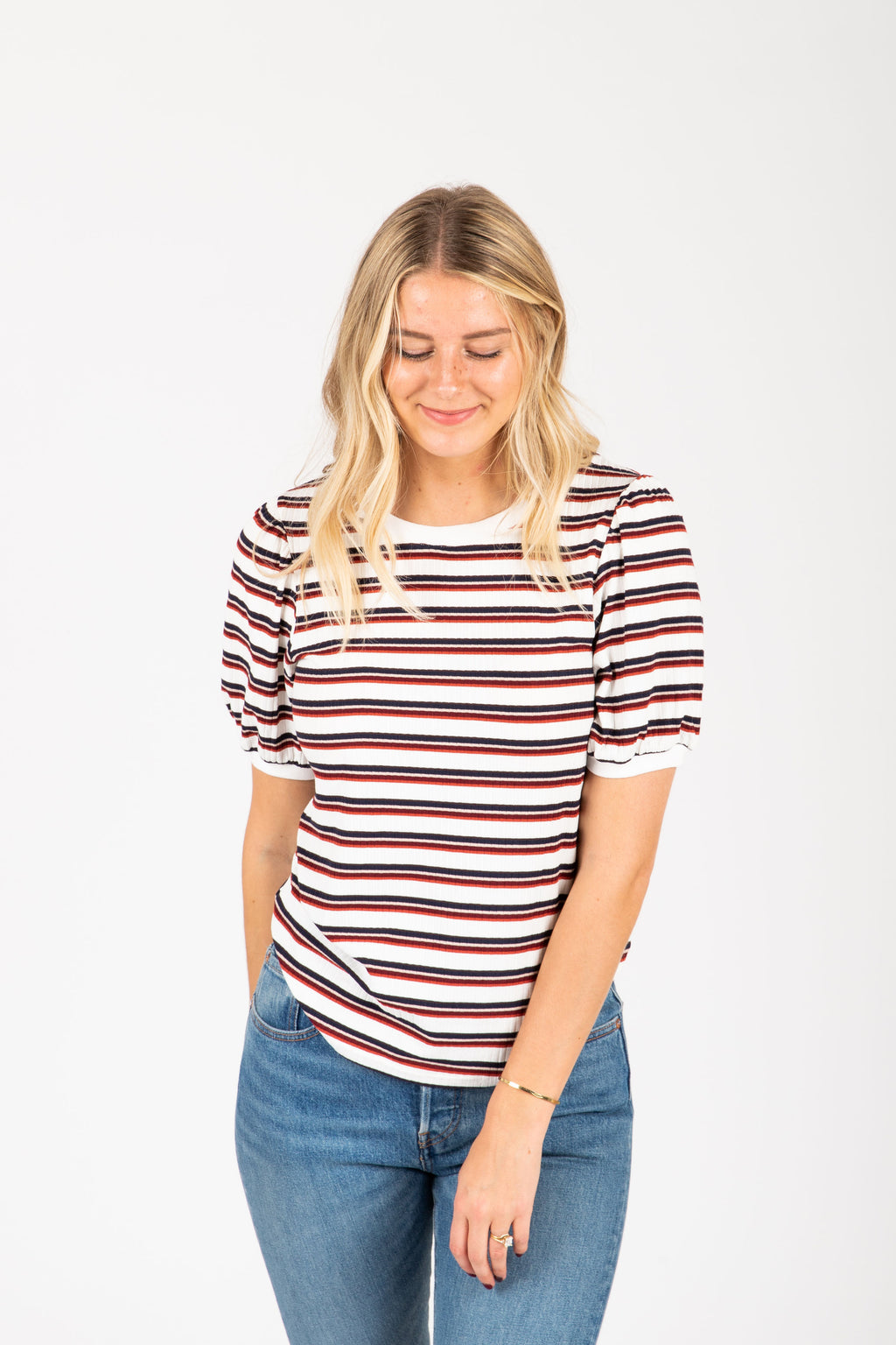 The Eugina Striped Puff Sleeve Tee in Multi, studio shoot; front view