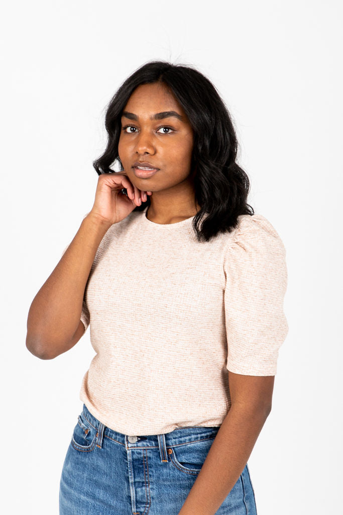 The Mary Kate Textured Knit Blouse in Oatmeal, studio shoot; front view
