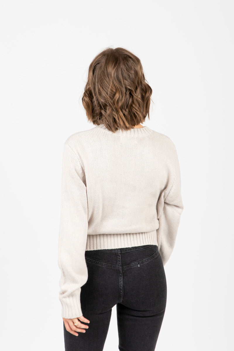 The Barnett Ribbed Trim Sweater in Taupe, studio shoot; back view