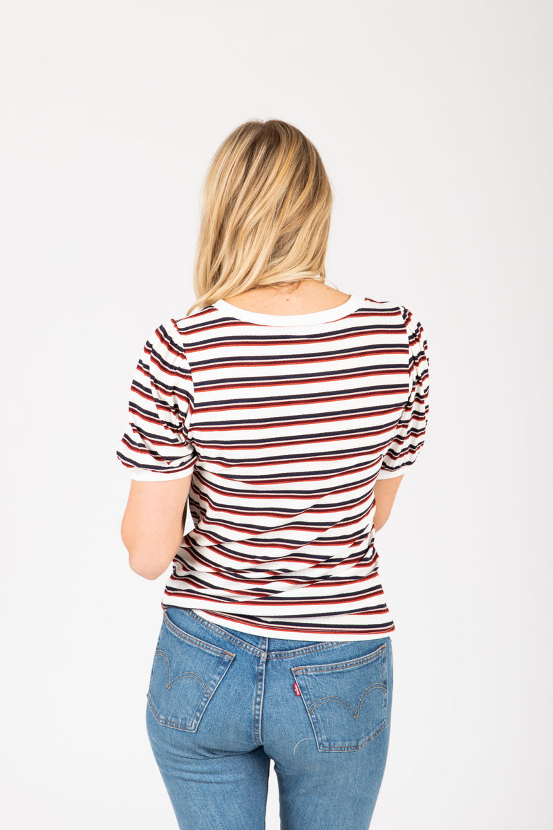 The Eugina Striped Puff Sleeve Tee in Multi, studio shoot; back view