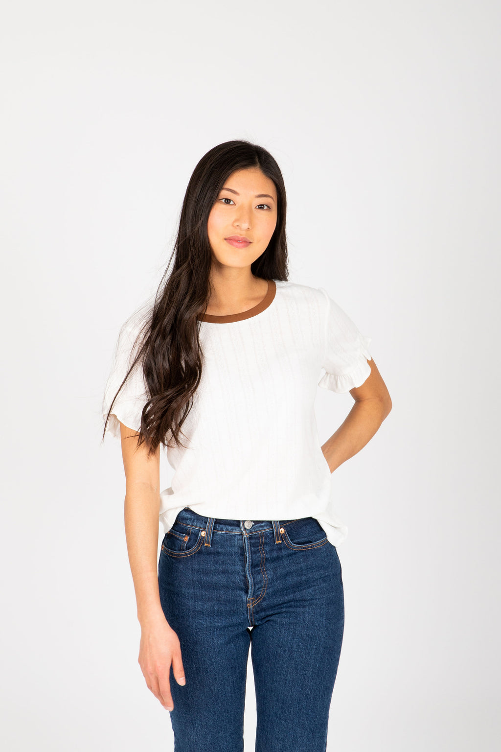 The Alisha Detail Blouse in Ivory, studio shoot; front view