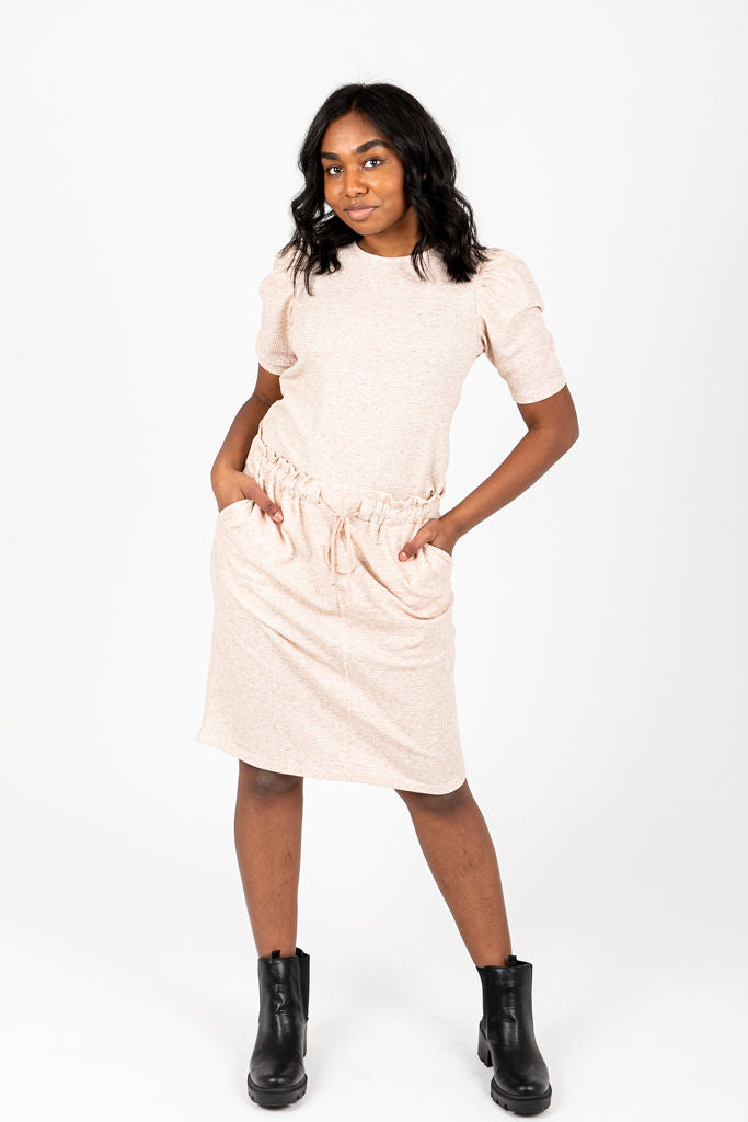 The Ashley Textured Knit Skirt in Oatmeal