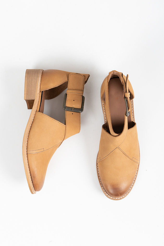 Crevo Footwear: Elena Buckle Bootie in Tan