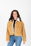 Levi's: Heritage Corduroy Trucker Jacket in Iced Coffee, studio shoot; front view