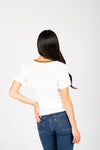 The Alisha Detail Blouse in Ivory, studio shoot; back view