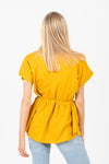 The Passion Tie Blouse in Mustard