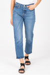 Levi's: Wedgie Fit Straight Jeans in Jive Sound Medium Wash, studio shoot; front view