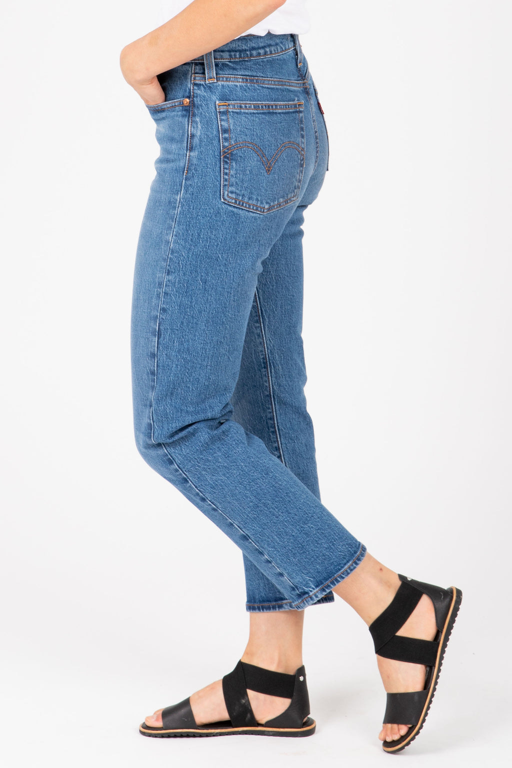 Levi's: Wedgie Fit Straight Jeans in Jive Sound Medium Wash, studio shoot; side view