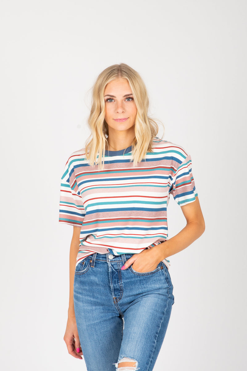 The Luella Striped Tee in White Multi, studio shoot; front view