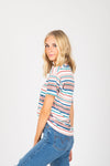 The Luella Striped Tee in White Multi, studio shoot; side view