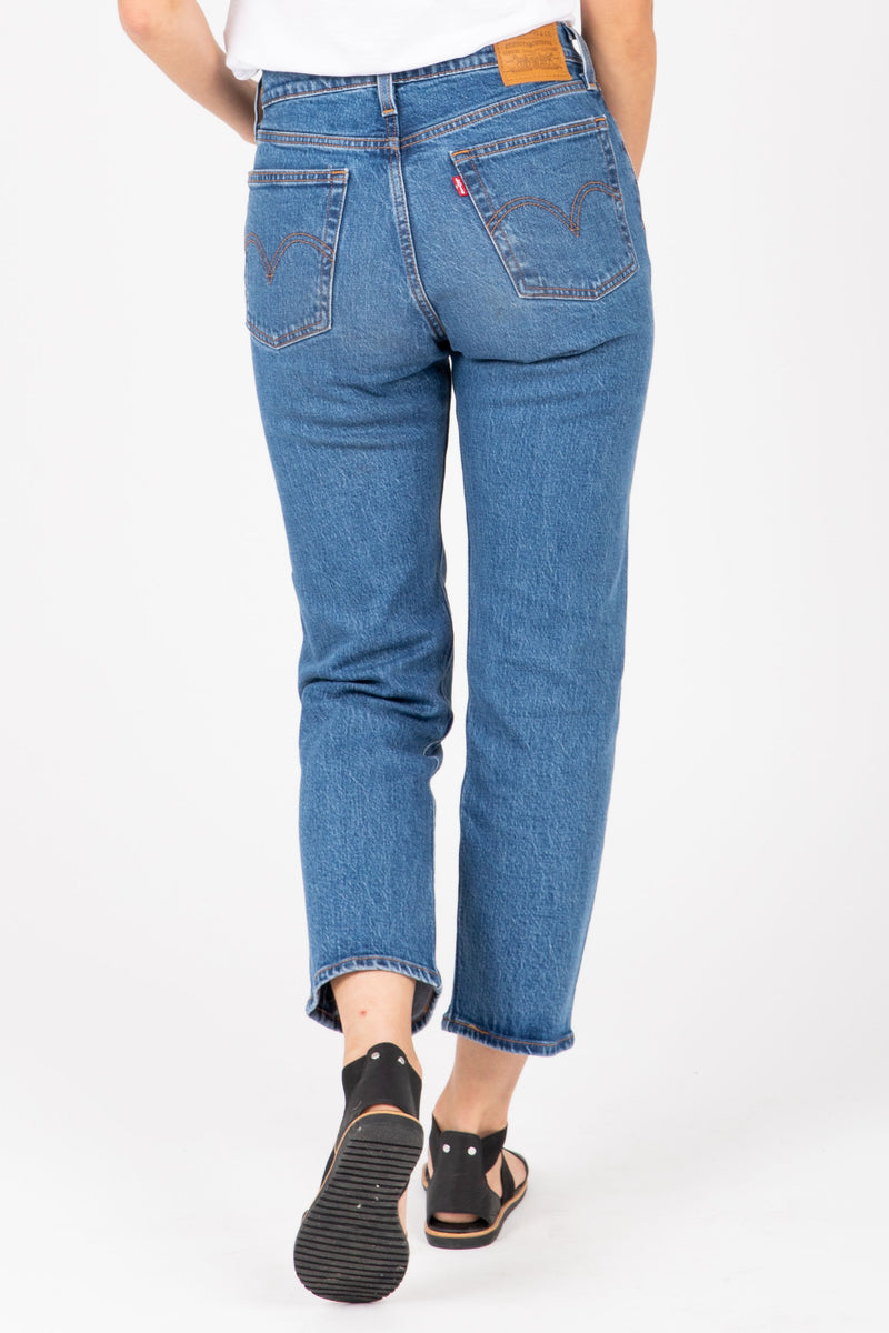 Levi's: Wedgie Fit Straight Jeans in Jive Sound Medium Wash, studio shoot; back view
