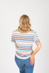 The Luella Striped Tee in White Multi, studio shoot; back view