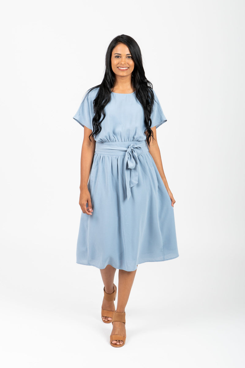 The Raymond Tie Dress in Periwinkle