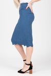 The James Sweater Skirt in Indigo, studio shoot; side view