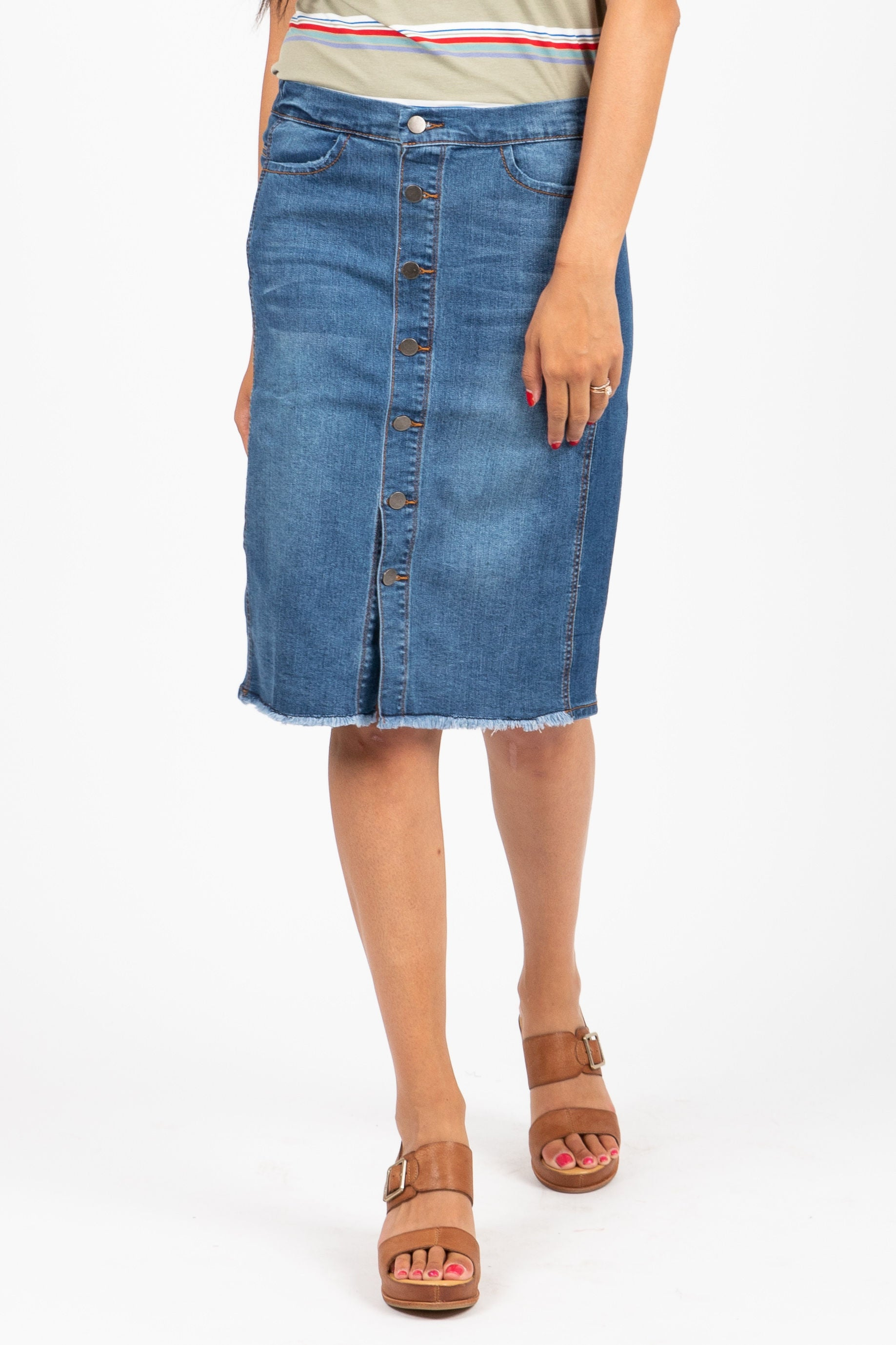 The Etched Denim Button Down Skirt