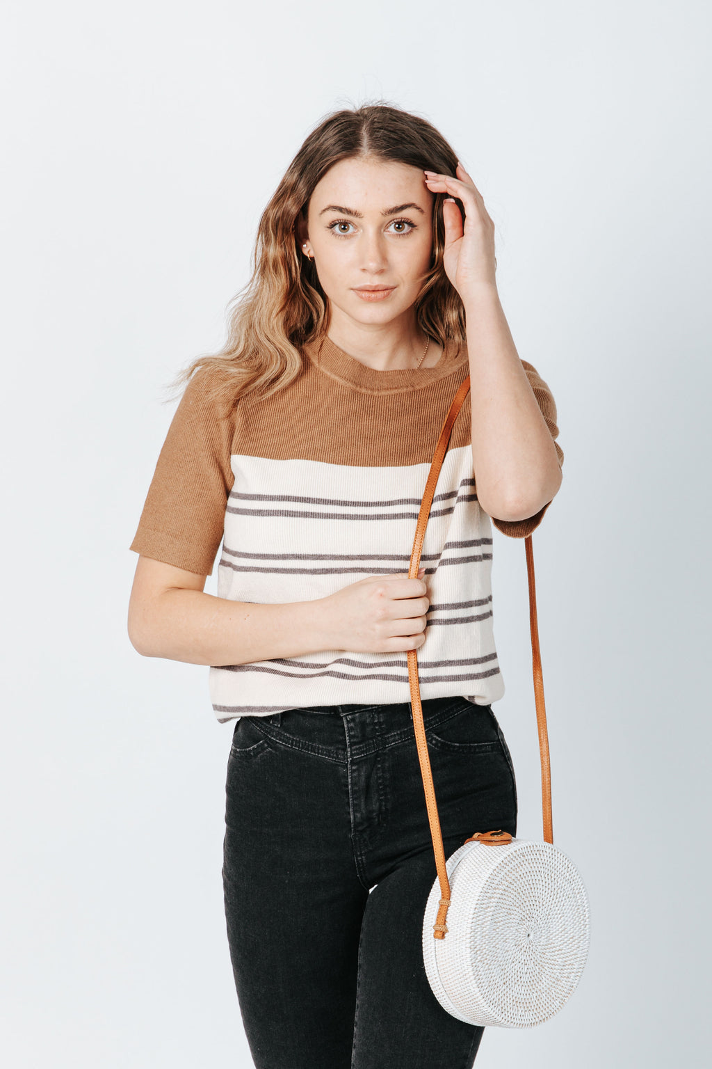 The Rusty Striped Knit in Camel, studio shoot; front view