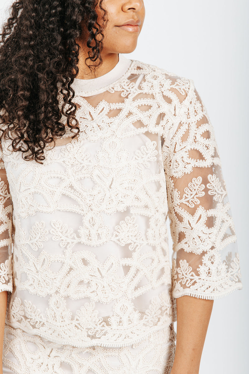 The Drew Lace Embellished Blouse in Cream, studio shoot; front view