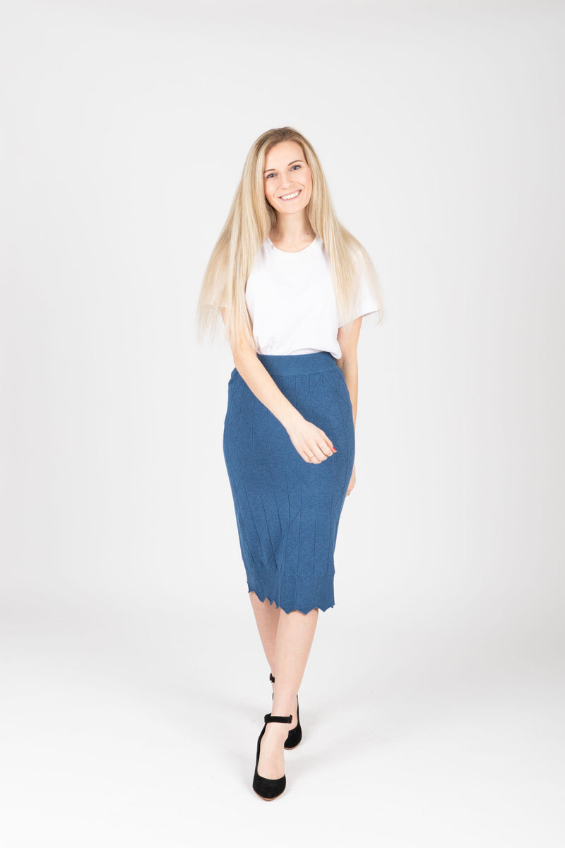 The James Sweater Skirt in Indigo, studio shoot; front view