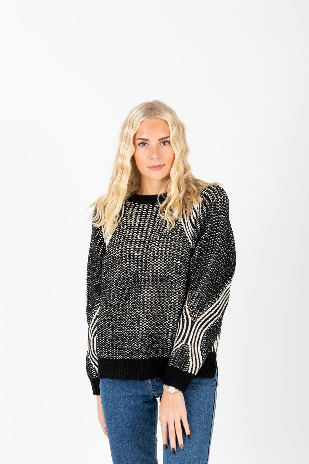 The Austin Thick Knit Sweater in Black, studio shoot; front view