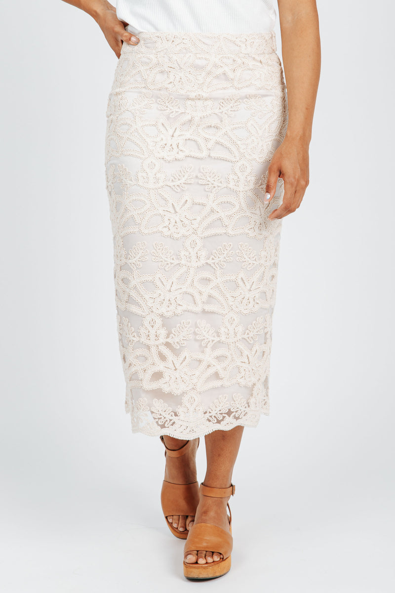 The Barrymore Lace Embellished Skirt in Cream, studio shoot; front view