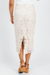The Barrymore Lace Embellished Skirt in Cream, studio shoot; back view